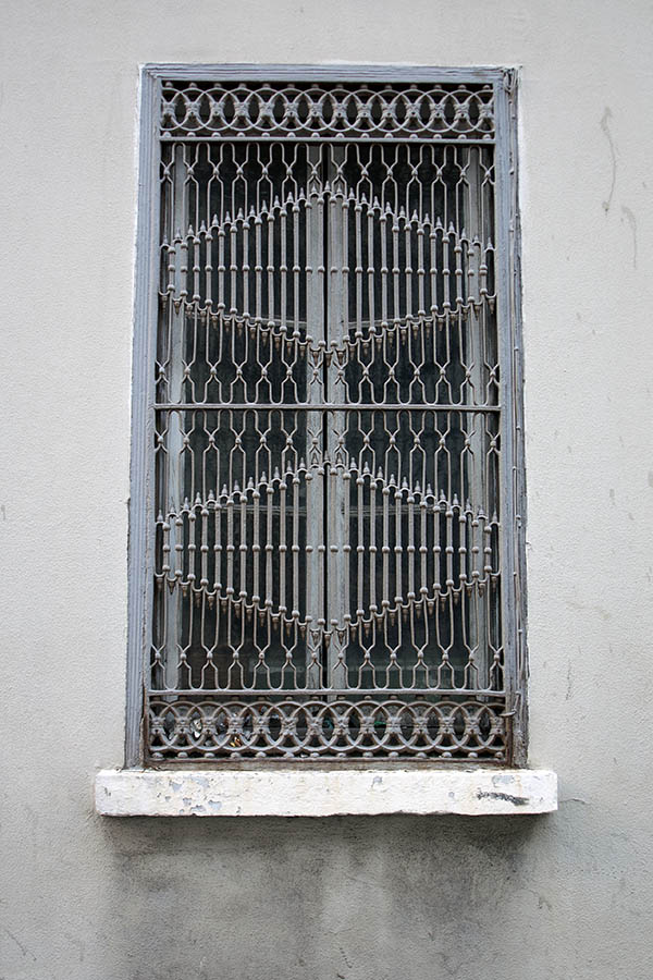 Photo 03106: Grey window with two frames and heavily decorated latticework