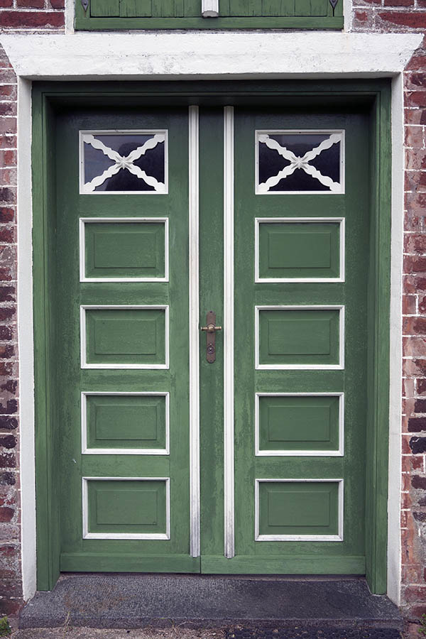 Photo 09815: Panelled, green and white double door with door lights