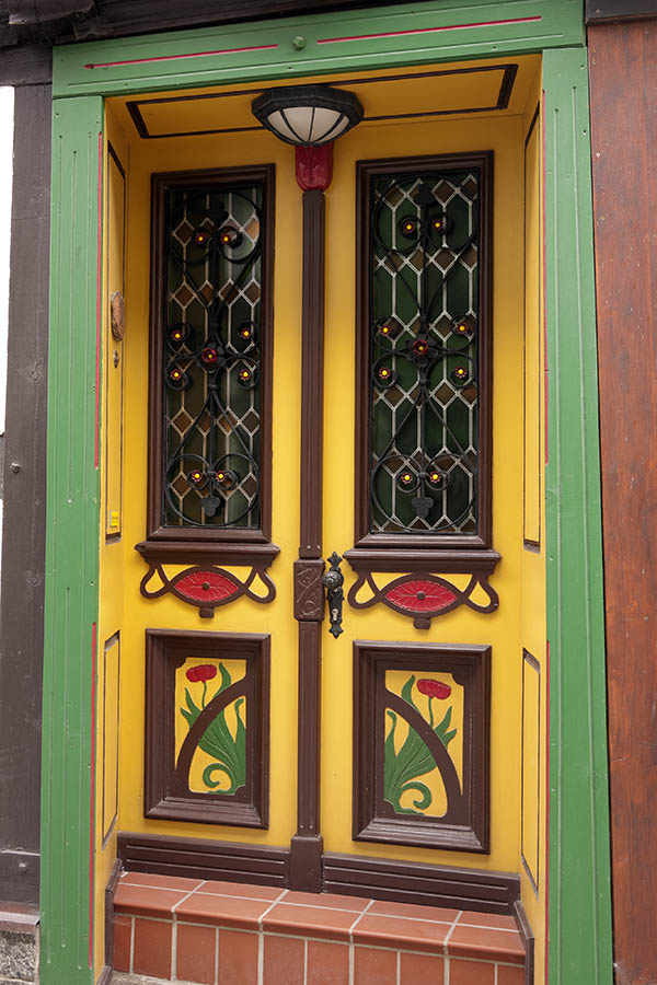 Photo 12605: Panelled, yellow, brown, red and green double door within a green pilaster