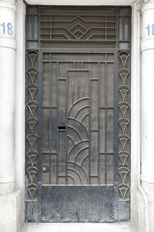 Photo 24556: Black metal door with lattice and top window