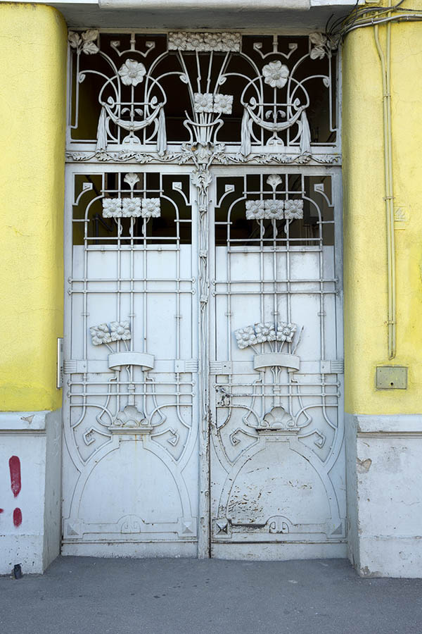 Photo 25534: Grey metal gate with flower decoration in Art Nouveau style
