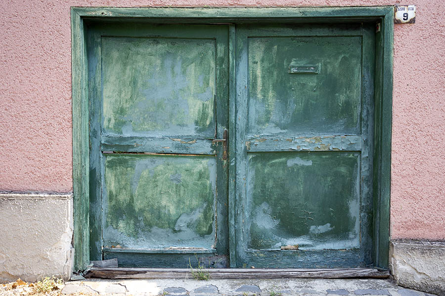 Photo 25994: Decayed, panelled, teal and green double door