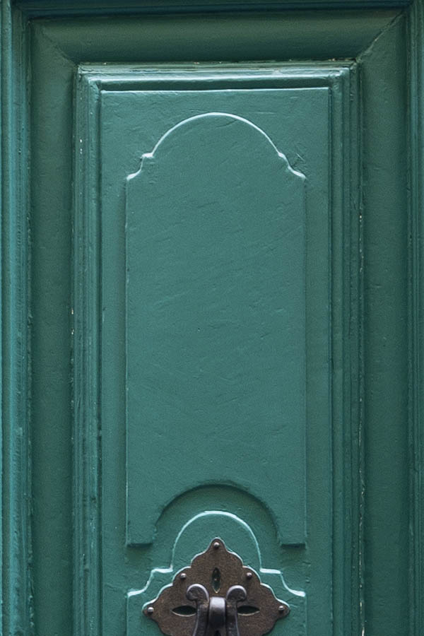 Photo 14731: Carved, panelled, green double door with barred fan light