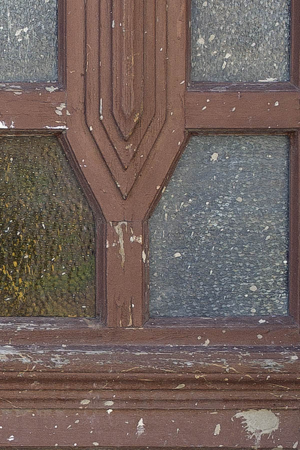 Photo 25371: Worn, panelled, carved, brown double door with formed door lights and top window in Art Nouveau styl
