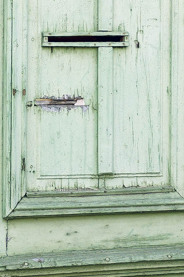 Photo 25657: Worn, panelled, green gate in three parts